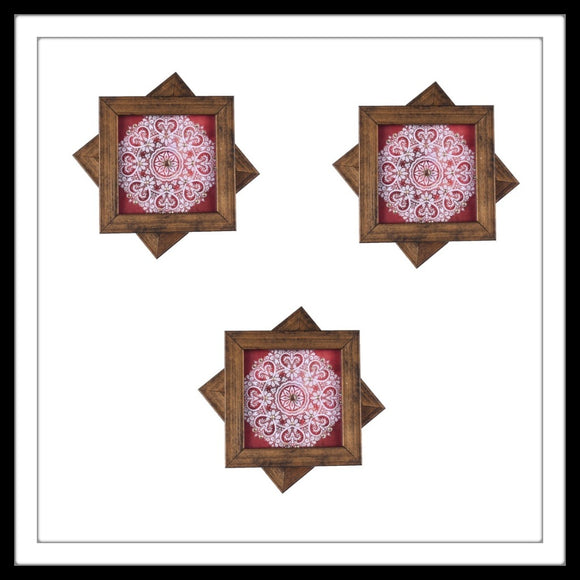 Handmade wooden 6 coasters set with red and white mandala print and crystal work, suitable for gifting