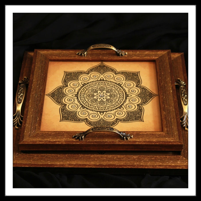 Decorative tray set with black mandala with beige background for gifting
