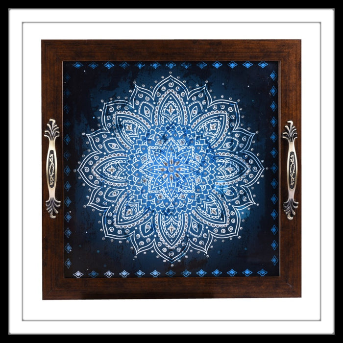 handmade square blue shibori print tray hand embellished with crystals.