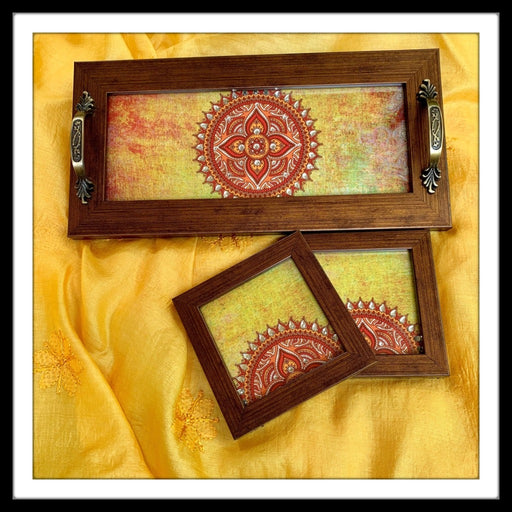 Yellow Mandala Tray & 2 Coasters Set