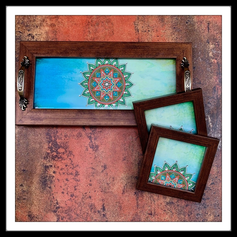 Shaded Blue Tray & 2 Coasters Set