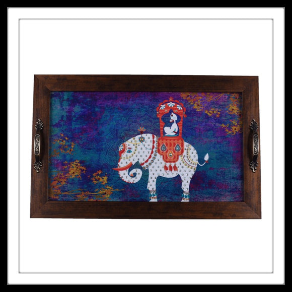Blue background white elephant with maharaja long vanity tray
