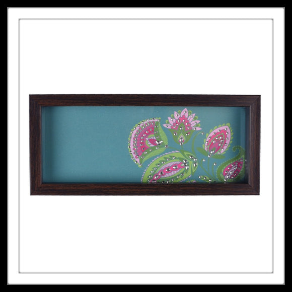 handmade multipurpose long rectangular teal tray with pink floral print hand embellished with crystals.