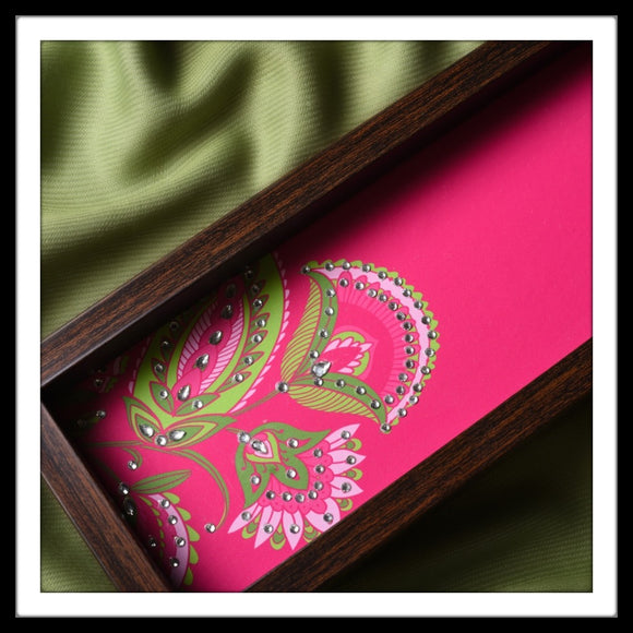 handmade multipurpose pink long rectangular tray with pink floral print hand embellished with crystals.