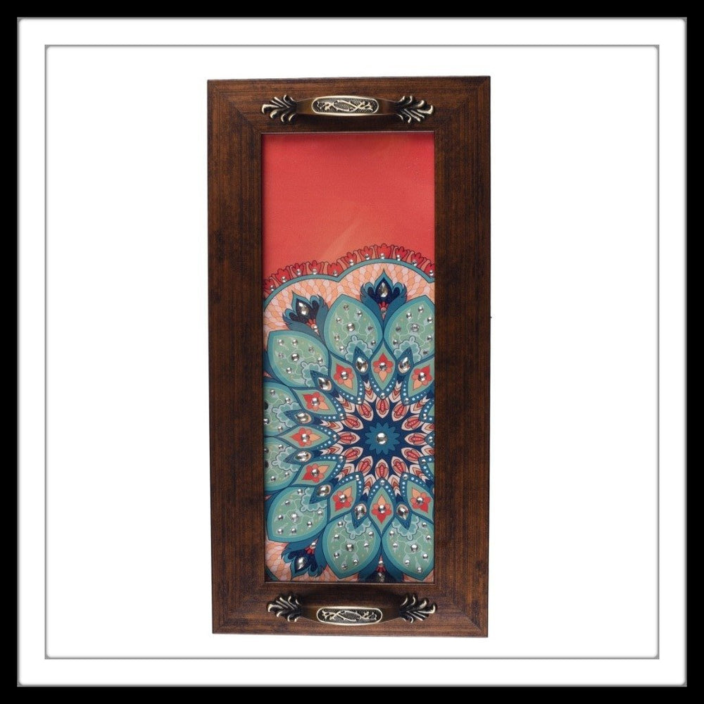 handmade red wooden tray with floral green print hand embellished with crystals. Ideal for gifting and home decor.