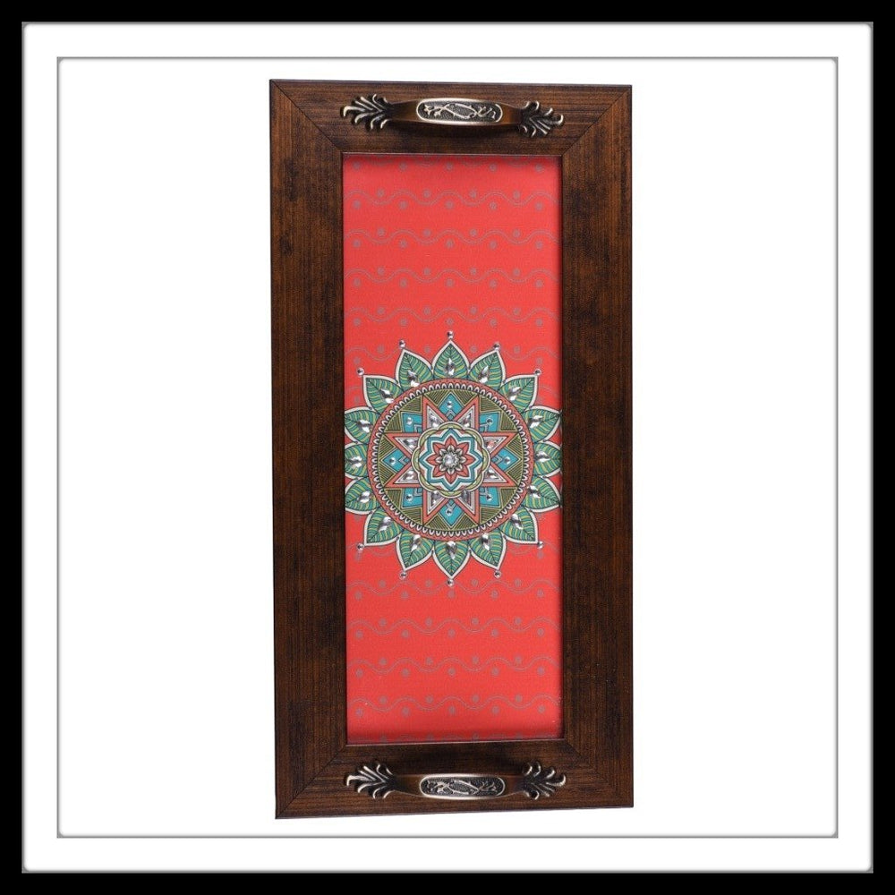 red rectangular handmade tray with brass handles and central green mandala print, hand embellished with crystals. Ideal for gifting and home decor.