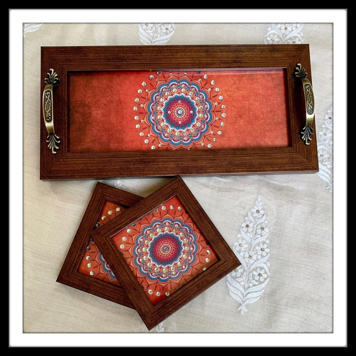 Coral Mandala Tray & 2 Coasters Set