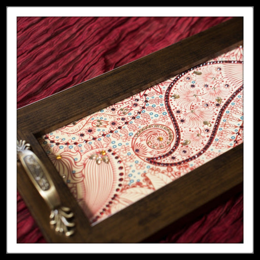 Red Paisley Long Tray - Footprints Forever