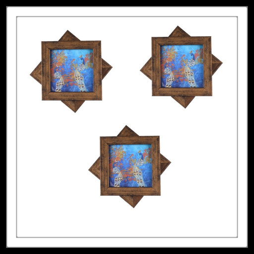 Blue Double Peacock Coasters - Footprints Forever