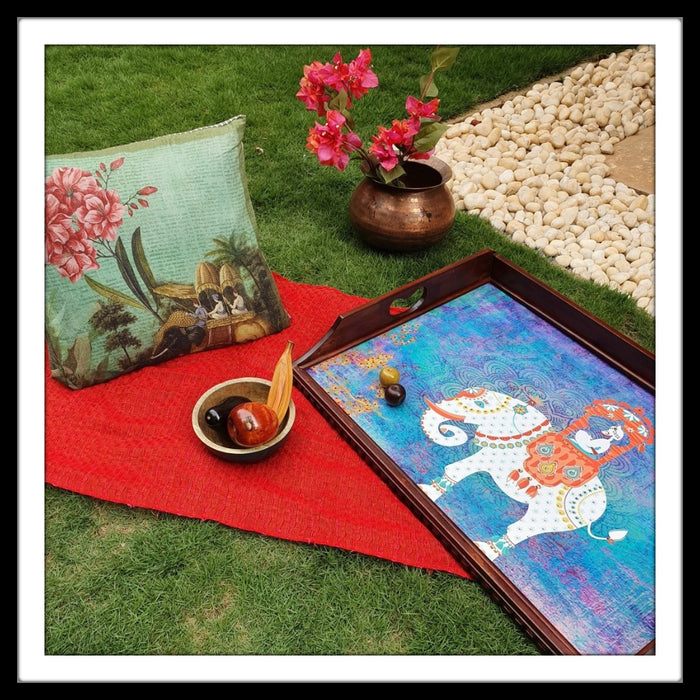 Maharaja on Elephant Butler Tray with Trestle Stand