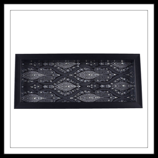 Black and White Paisley Box Tray - Footprints Forever