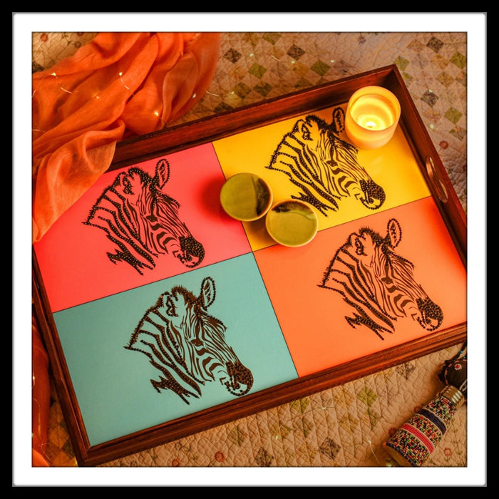 Colourful Zebra Butler Tray with Trestle Stand - Footprints Forever