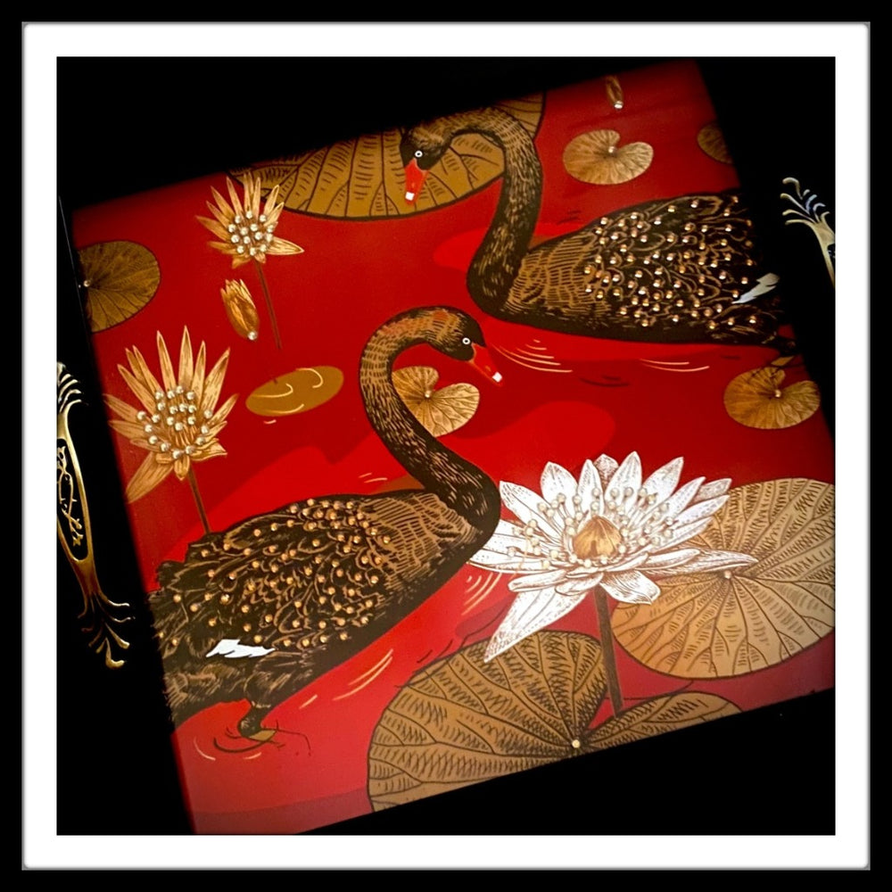 Black Swans Square Tray