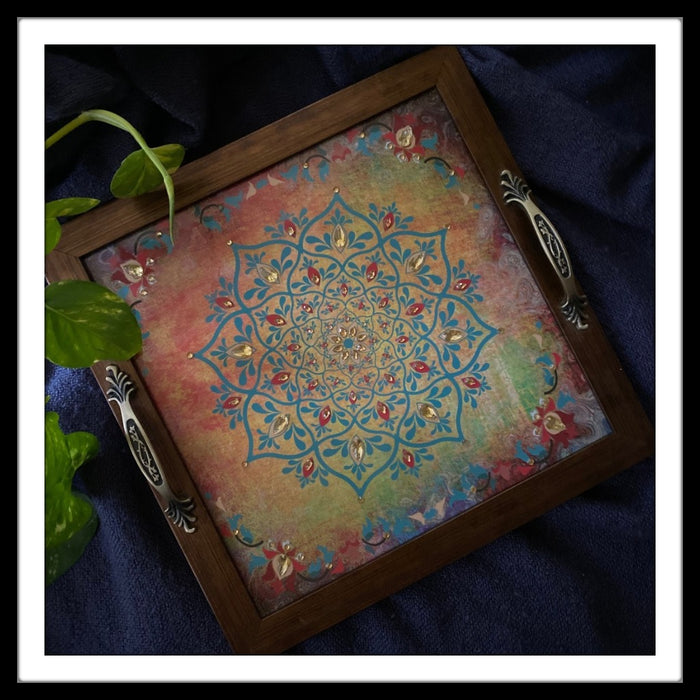 Mughal Floral Square Tray