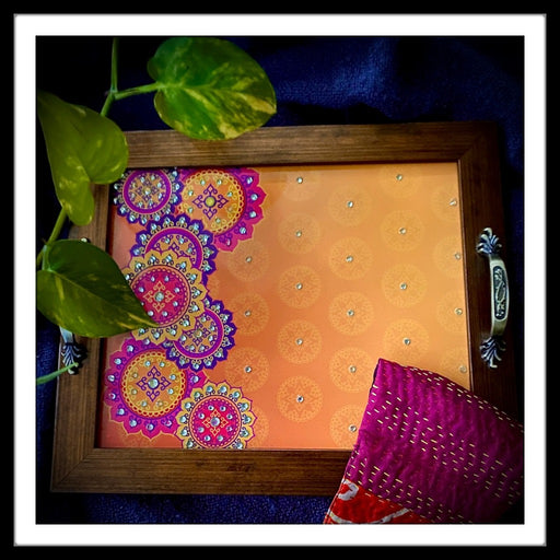 Orange Mandala Rectangular Tray