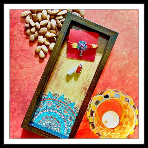 Yellow Mandala Box Tray with Rakhi