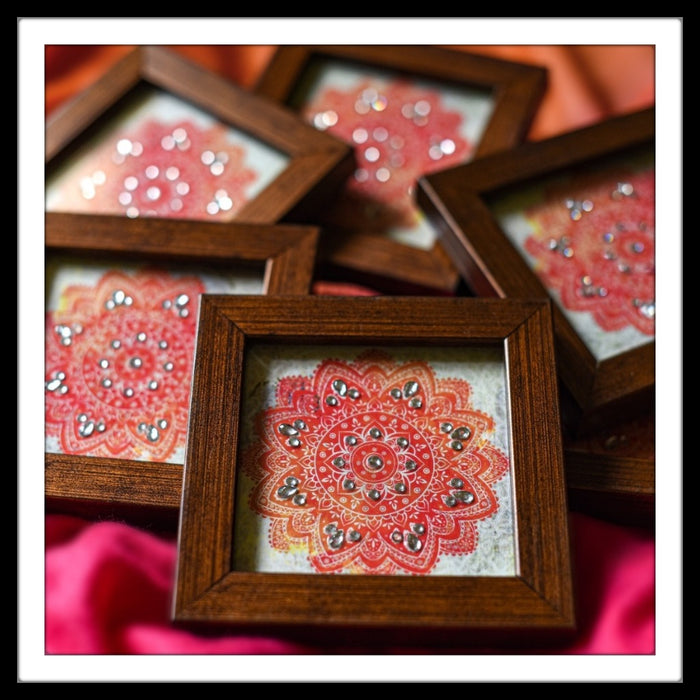 Cream & Orange Mandala Coasters
