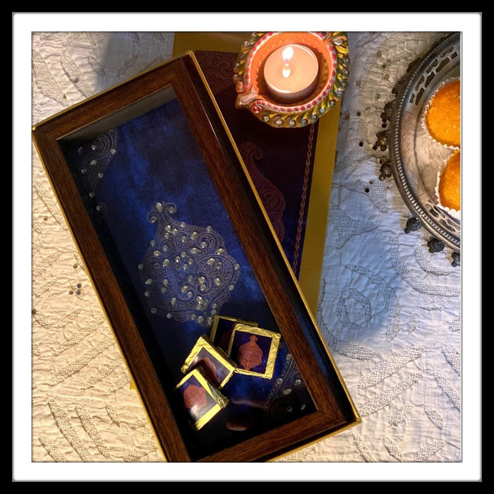 Navy Blue Damask Box Tray with Chocolates Gift Hamper