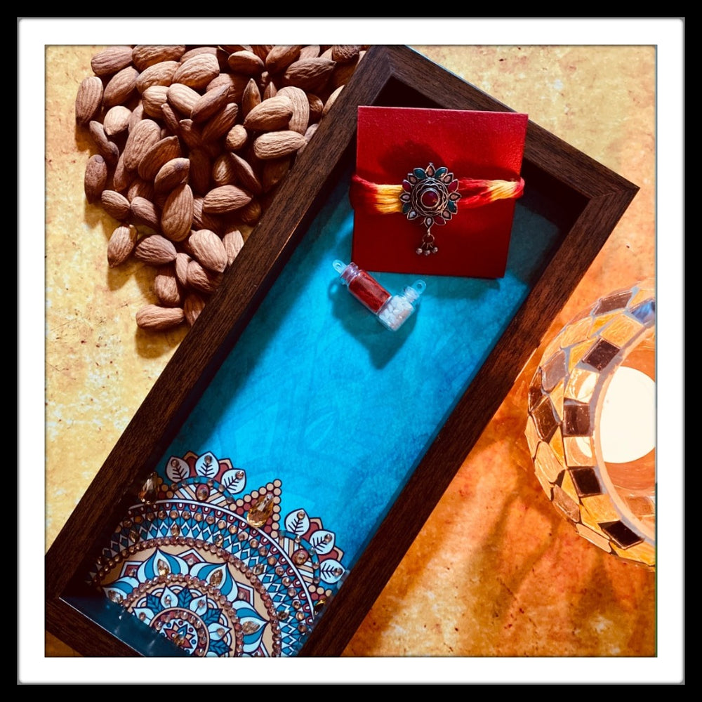 Blue Mandala Box Tray with Rakhi