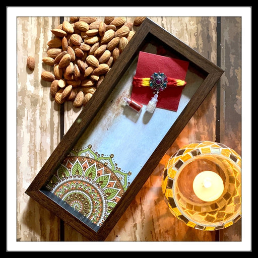 Beige Mandala Box Tray with Rakhi