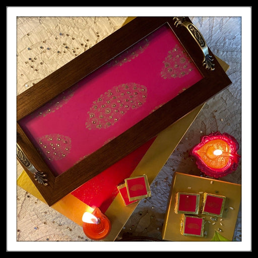 Hot Pink Paisley Long Tray with Chocolates Gift Hamper