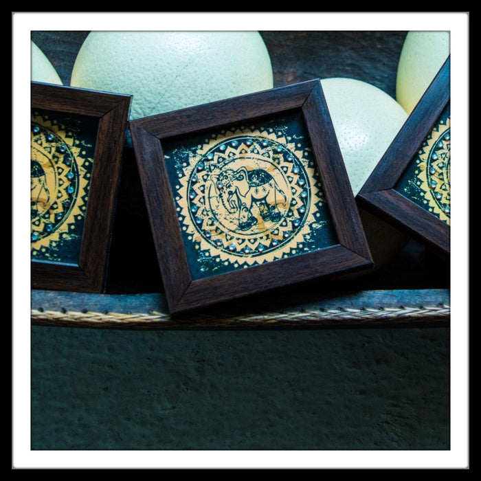 Beige & Blue Elephant Coasters