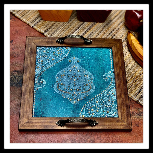 Blue Damask Square Tray