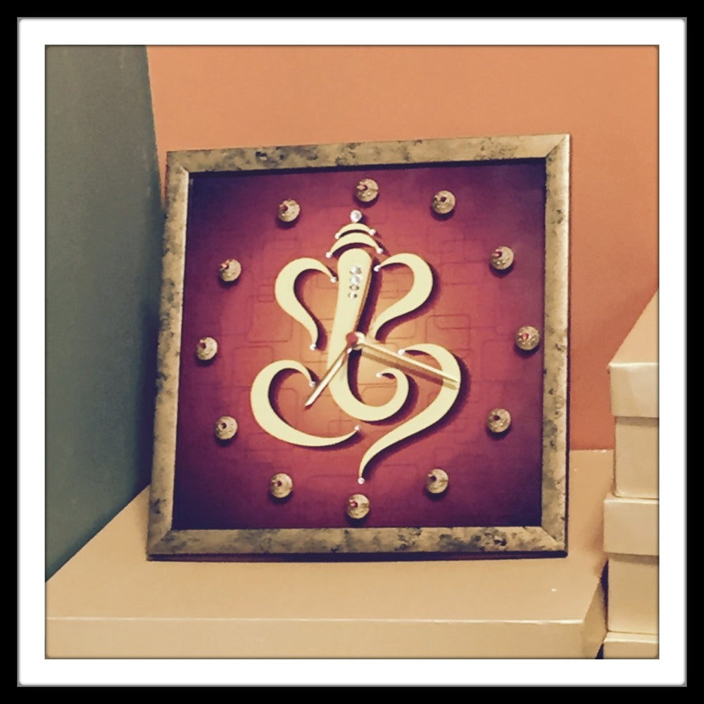 Brick Red Ganesha Clock