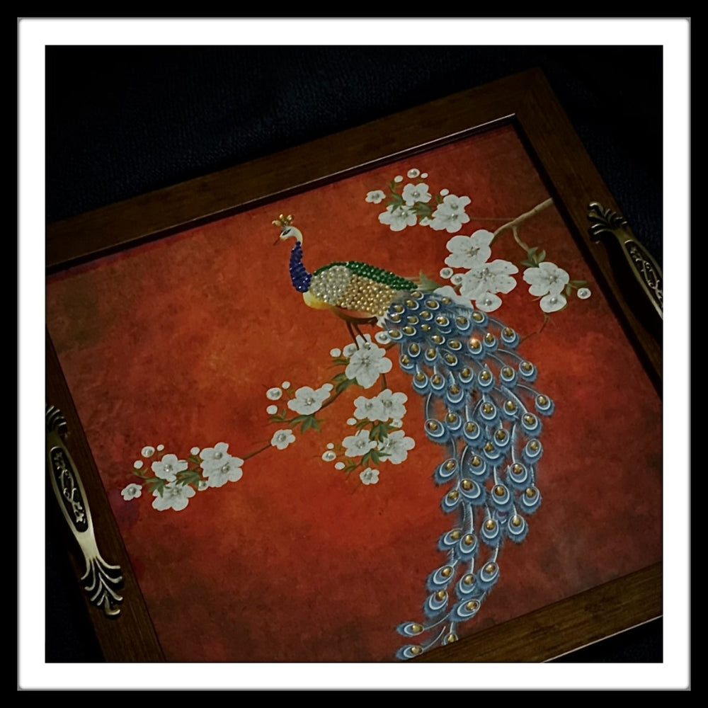 Peacock on the Branch Square Tray