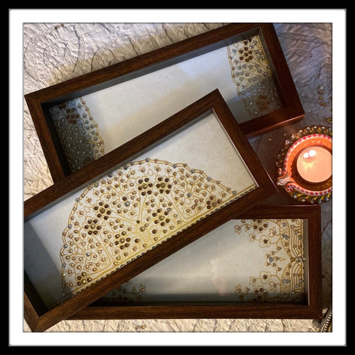 Set of Three Multipurpose Cream & Golden trays