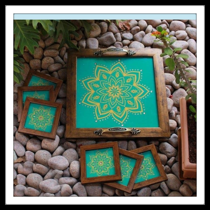 Turquoise & Lemon Tray with Coasters