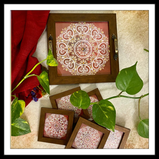 Red and White Mandala Tray with Coasters