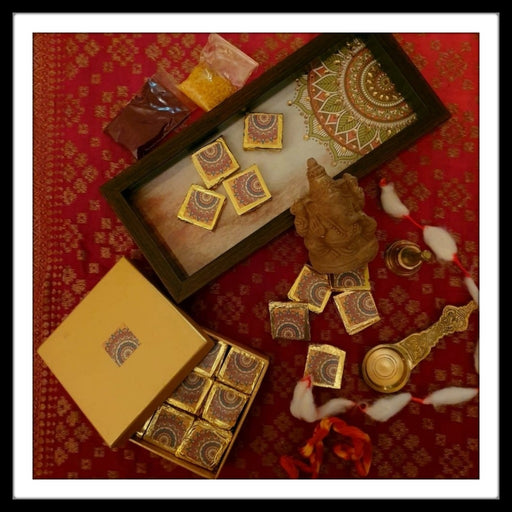 Beige Mandala Box Tray with Chocolates Gift Hamper