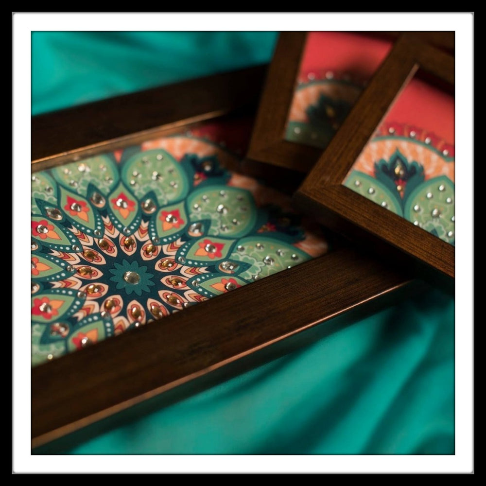 handmade red wooden tray and coasters set with floral green print hand embellished with crystals. Ideal for gifting and home decor.