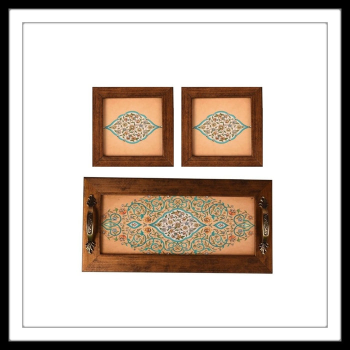 Cream Mughal Tray & 2 Coasters - Footprints Forever
