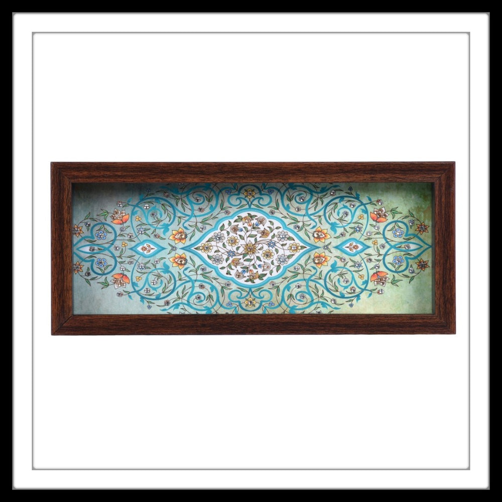 Light Green Mughal Motif Box Tray - Footprints Forever