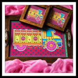 Pink Truck Rectangular Tray and Coasters Set