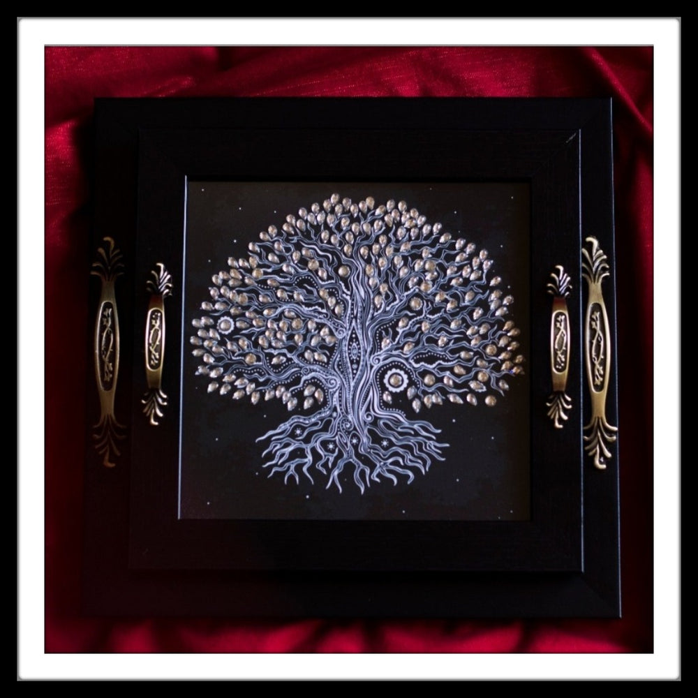 Black Tree of Life Square Tray Set - Footprints Forever