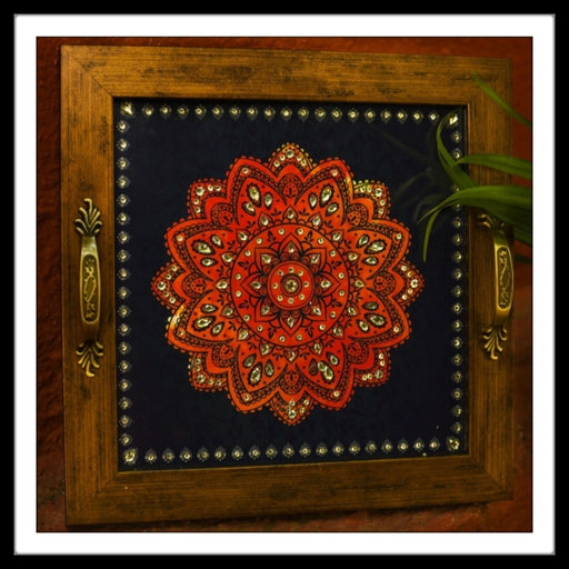 Blue & Red Mandala Square Tray - Footprints Forever