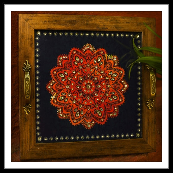 Blue & Red Mandala Tray