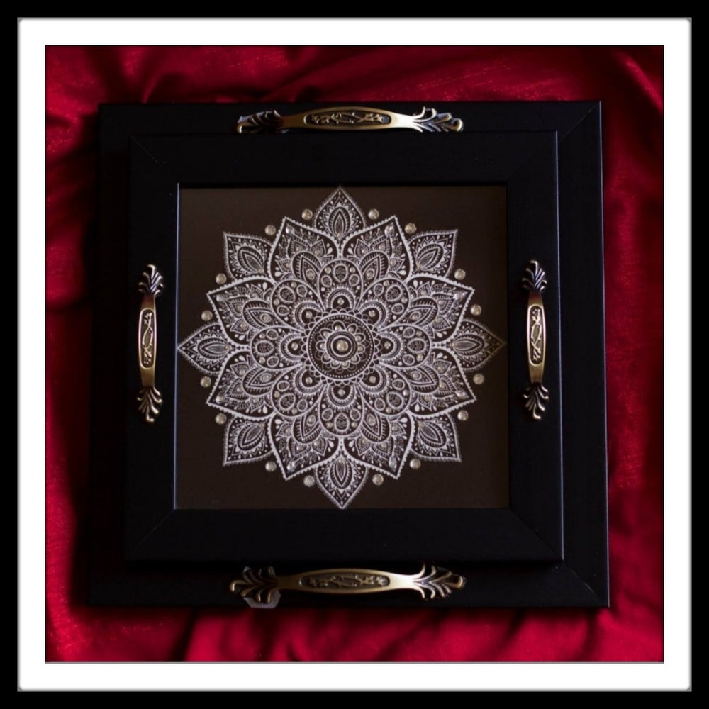 Black Mandala Square Tray Set - Footprints Forever