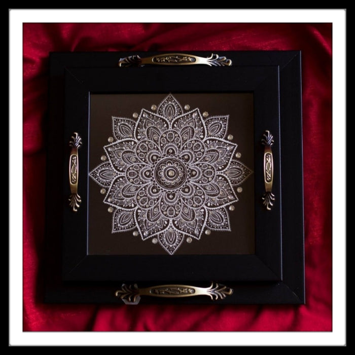 Black Decorative tray set with mandala print for gifting