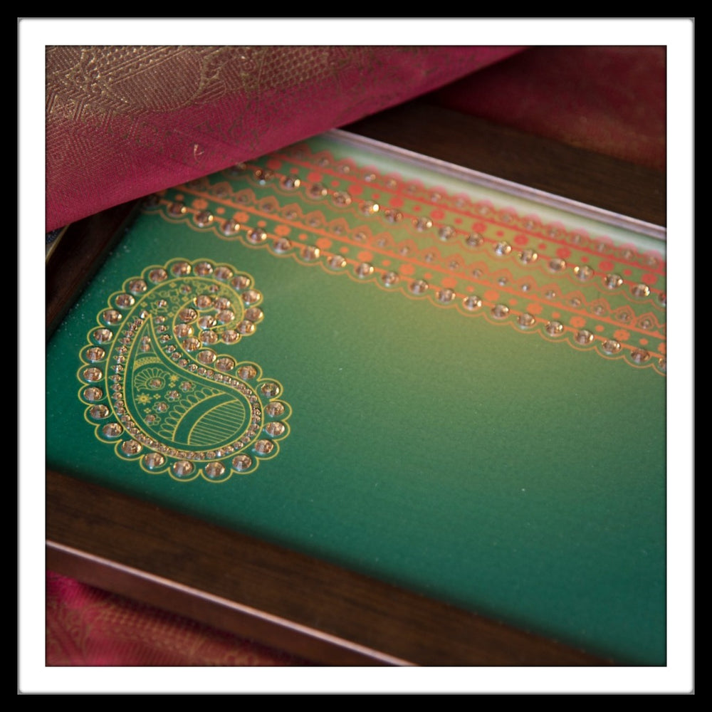Green Paisley Rectangular Tray - Footprints Forever