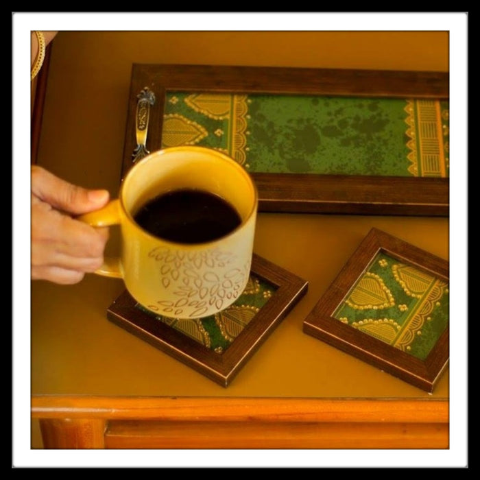 Green Geometrical Tray & 2 Coasters Set - Footprints Forever