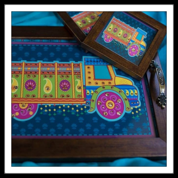 Blue Truck Tray and Coasters Set