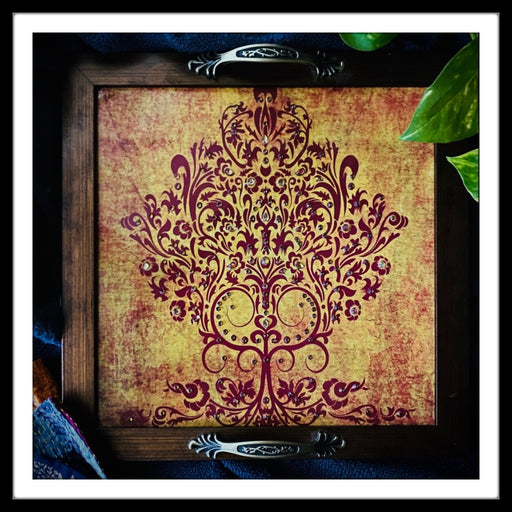 Tree of Life Maroon Square Tray