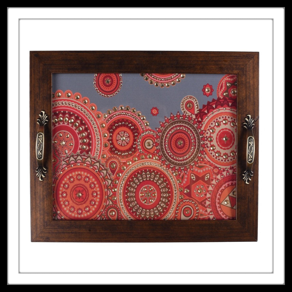 Grey & Orange Multi Mandala Rectangular Tray
