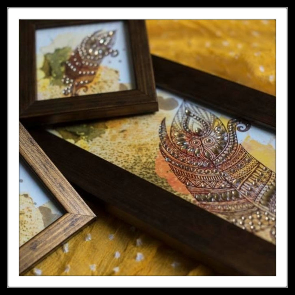 Decorative tray with feather print in grunge background for gifting krishna