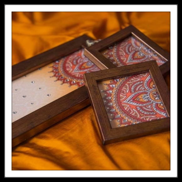 Orange Mandala Tray & 2 Coasters