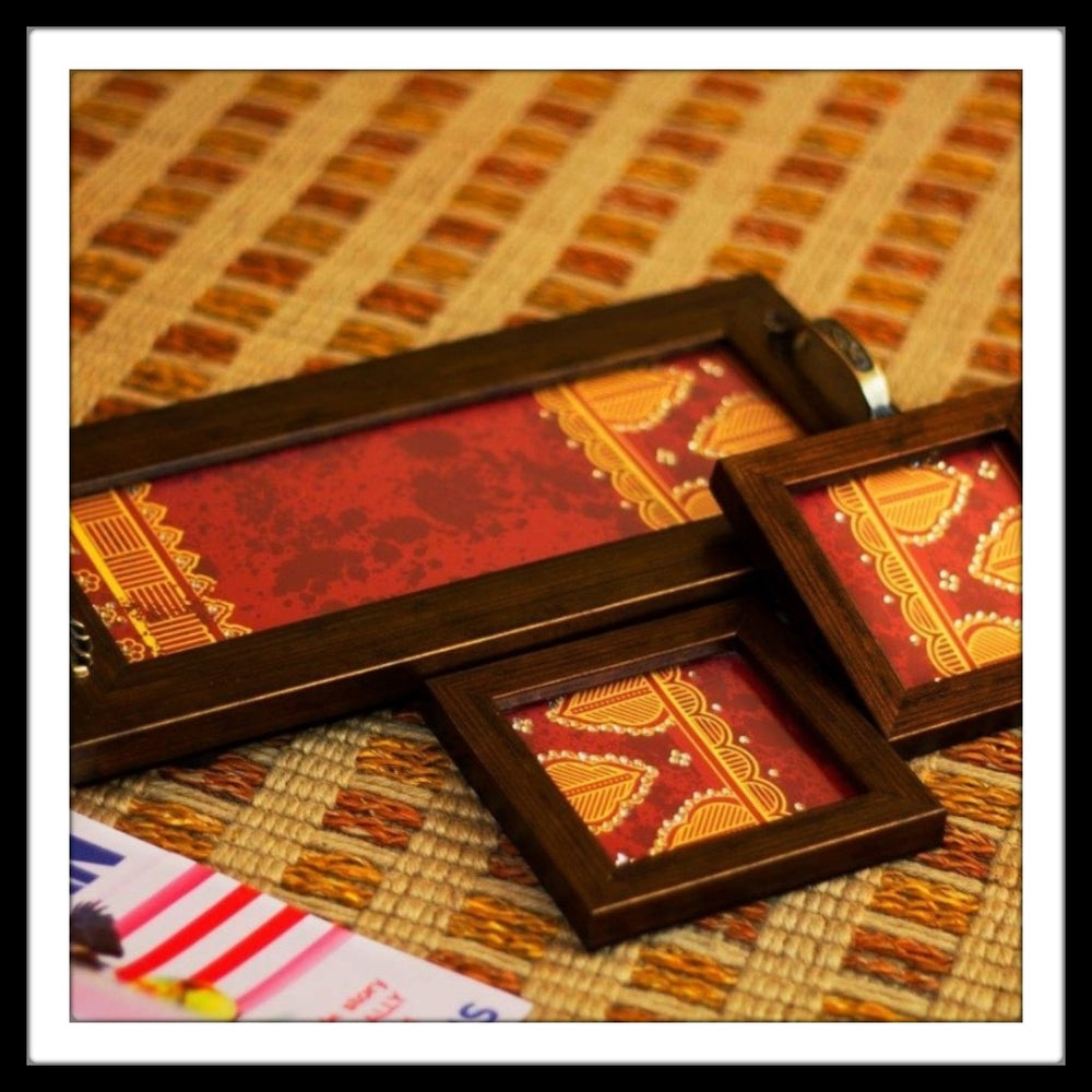 Red Geometrical Tray & 2 Coasters Set - Footprints Forever